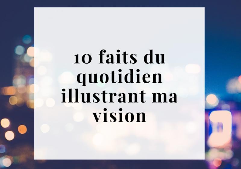 """Encadré blanc contenant """"10 faits du quotidien illustrant ma vision"""". En arrière plan on aperçoit les lumières floues d'une ville la nuit."""